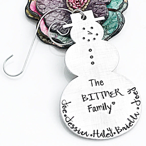 Snowman Personalized Christmas Ornament, Handstamped Family Christmas Ornament