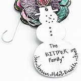 Family Christmas Ornament - Snowman Ornament - Personalized Handstamped - Lasting Impressions CT