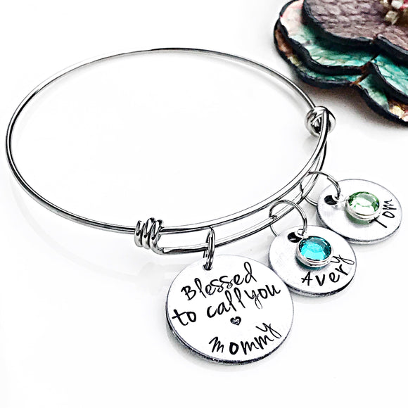 Blessed to Call you Mommy - Mother's Bracelet - Custom - Personalized - Hand Stamped Name Charms - Lasting Impressions CT