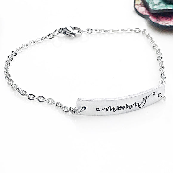 Mommy Cable Chain Hand Stamped Personalized ID Bracelet