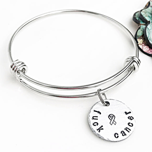 Fuck Cancer Bangle Bracelet - Lasting Impressions CT