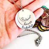 Three Tier Mixed Metals Hand Stamped Stacked Mother's Charm Necklace with Names