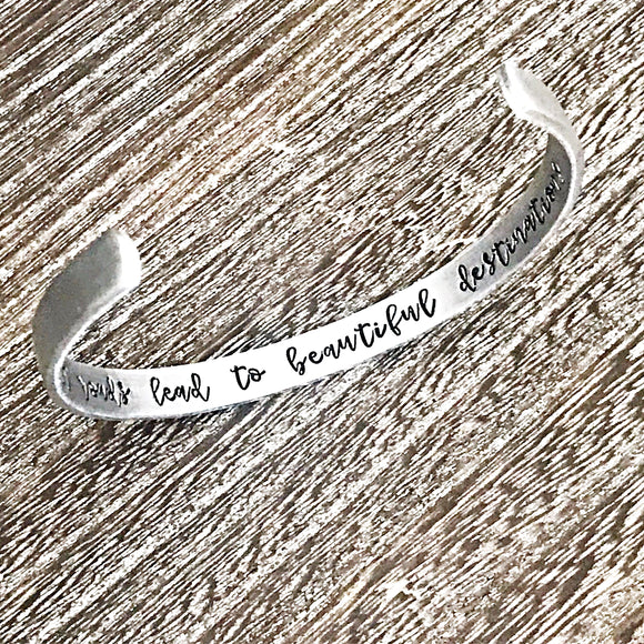 Difficult Roads Hand Stamped Custom Cuff Bracelet for Motivational Gift - Lasting Impressions CT