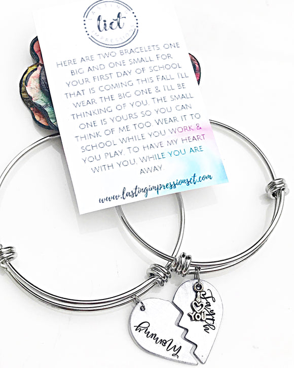 Kindergarten Mommy Daughter Bracelet Set-Personalized Back to School Gift - Lasting Impressions CT