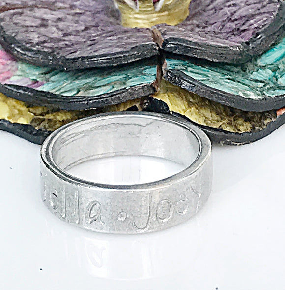 Pewter Stacking Ring-Hand Stamped Name Ring, Kids Name Ring, Stacking Rings