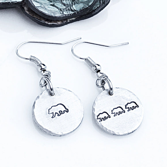 Mama Bear Hand Stamped Earrings, Custom Earrings, Handmade Earrings