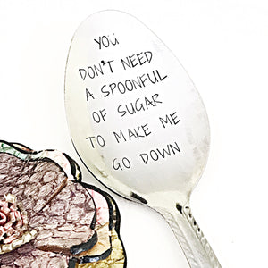 Sexy Gifts for Boyfriend Husband, Handstamped Silver Spoon, Mature Gifts - Lasting Impressions CT