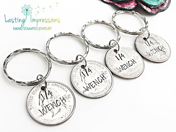 Hand Stamped Quarter Keychain - Set of 4 Best Friend Funny Keychains - Christmas Gift for Friends - Lasting Impressions CT