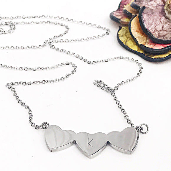 Stainless Steel Three Hearts Connected Mother's Necklace