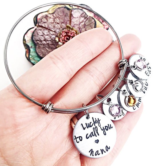 Grandma Bracelet - Custom Personalized Hand Stamped - Birthstone Name Charms - Lasting Impressions CT