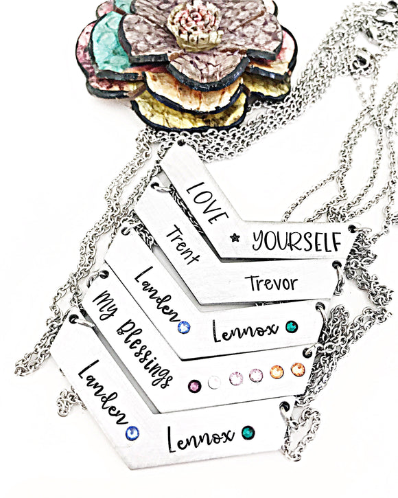 Personalized Mother's Chevron Bar Necklace with Optional Birthstones