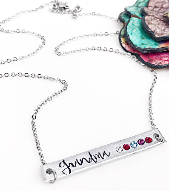 Grandma Birthstone Necklace - Horizontal Bar Necklace - Gifts for Grandma - Custom - Personalized - Lasting Impressions CT