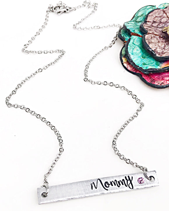 Mommy Birthstone Necklace - Horizontal Bar Necklace - Gifts for Mom - Custom - Personalized - Lasting Impressions CT