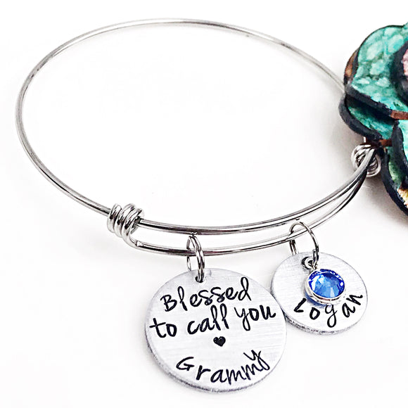 Grammy Bracelet-Hand Stamped Handmade Grandmother Gift-Blessed Grandma,Mother's Day Gift - Lasting Impressions CT
