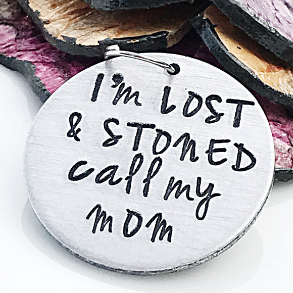MATURE: Funny Hand Stamped Custom Dog ID Tag, I'm Lost and Stoned, Dog ID Tag, Dog Tag, Custom Dog Tag, Personalized Pet Tag - Lasting Impressions CT