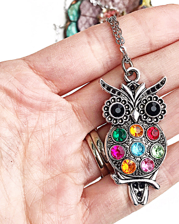 Colorful Beaded Owl Necklace - Lasting Impressions CT