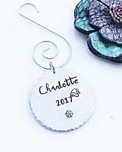 Hand Stamped Custom Christmas Ornament, Ornament for Kids, Children's Name Ornament - Lasting Impressions CT