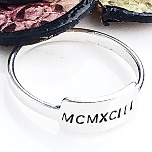 Sterling silver tab ring - Hand Stamped Rings - Name Ring - Roman Numeral Ring - Swear Word Ring - Lasting Impressions CT