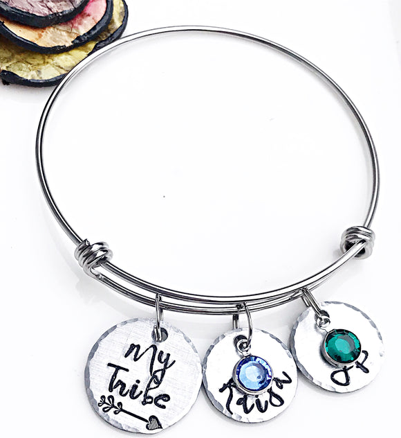 My Tribe Custom Bangle Bracelet for Mom, Kid's Name Bracelet, Birthstone Bangle, Gifts for Mom