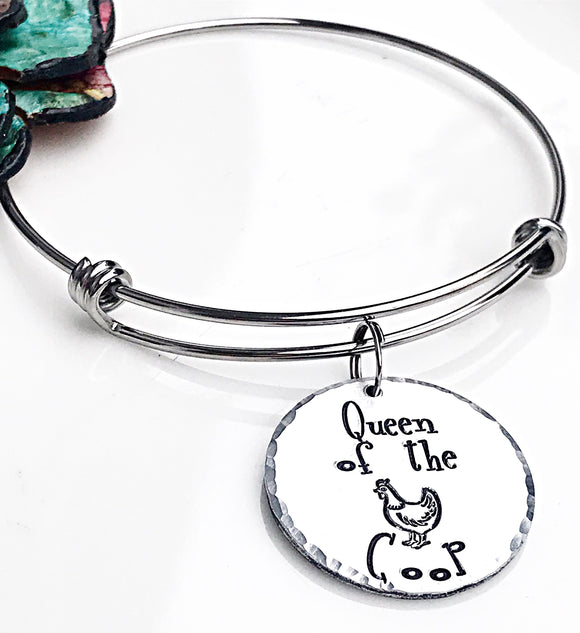 Queen of the Coop Chicken Mom Charm Bracelet