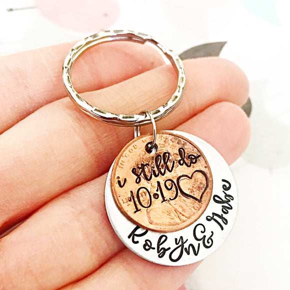 Penny Anniversary Keychain I still Do - Anniversary Gifts - Wedding