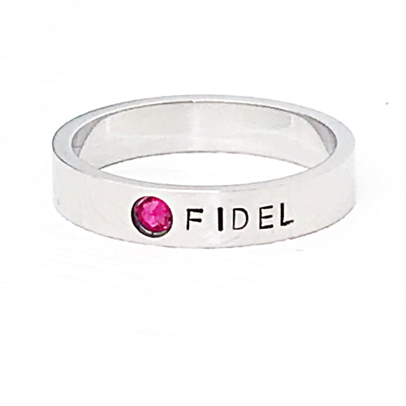 Stainless Steel Silver Birthstone Name Ring for Mothers - Lasting Impressions CT