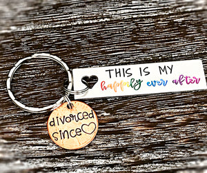 This is My Happily Ever After Custom Hand Stamped Penny Keychain Divorce Gifts for Her