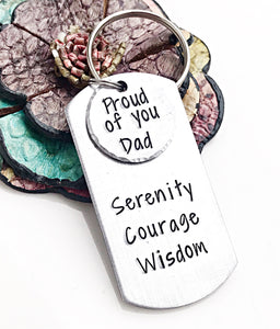Personalized Sobriety Anniversary Keychain for Dad-Sobriety Gift