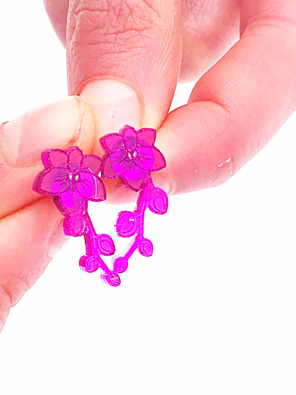 Laser Engraved Purple Orchid Acrylic Stud Earrings