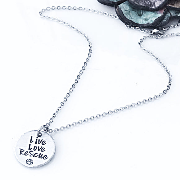 Live Love Rescue Hand Stamped Necklace, Pet Owner Necklace, Dog Adoption Jewelry, Dog Lover, Adopt - Lasting Impressions CT