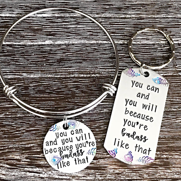 You can and you will because you're BADASS like that - Custom Bangle Charm Bracelet or Keychain - Lasting Impressions CT