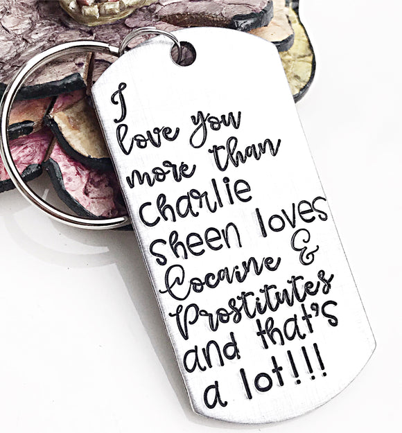 I Love You More Than Keychain for Husband or Boyfriend for Valentines Day or Anniversary Gift - Lasting Impressions CT