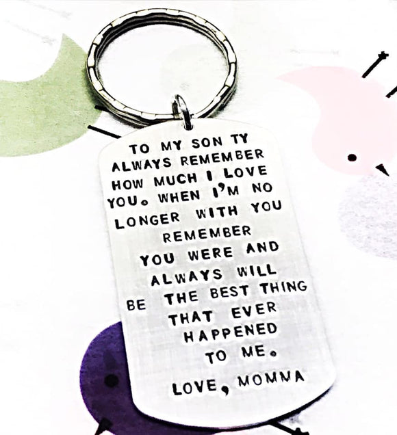 To My Son Handstamped Custom Keychain