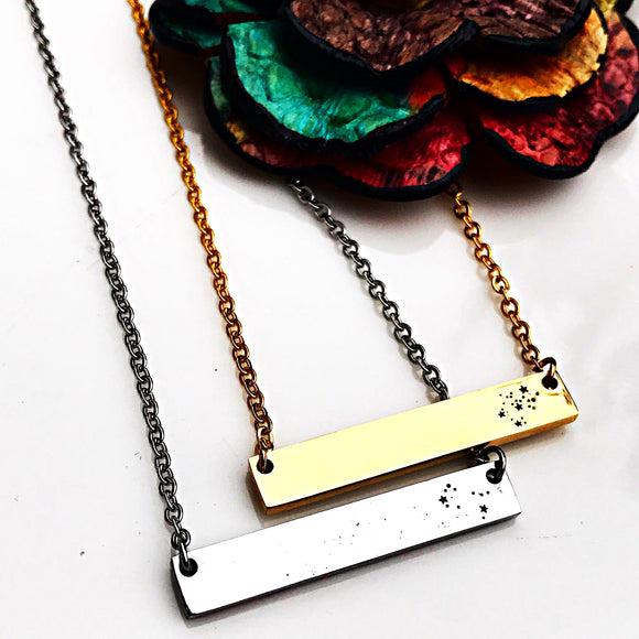 Constellation Horizontal Silver, Gold, or Rose Gold Horizontal Bar Necklace - Zodiac Necklace Jewelry - Lasting Impressions CT