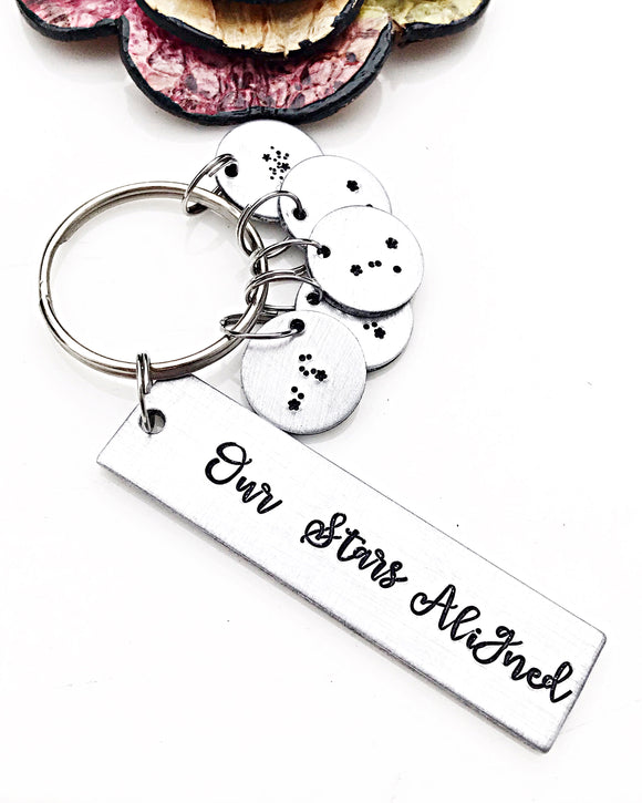 Our Stars Aligned Hand Stamped Constellation Keychain