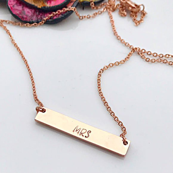 Rose Gold Horizontal Bar Necklace, Handstamped Bar Necklace, Rose Gold Necklace, Rose Gold Jewelry
