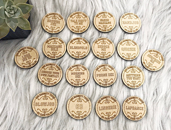 One Set of 18 Naughty Sex Tokens MDF Wood