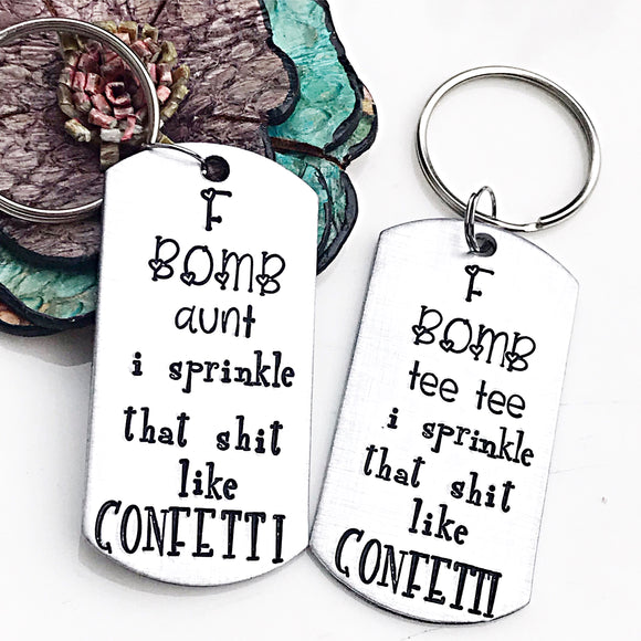 F Bomb Aunt Keychain - Gifts for Aunts - Funny Aunt Gift - Aunt Keychain - Auntie - Lasting Impressions CT