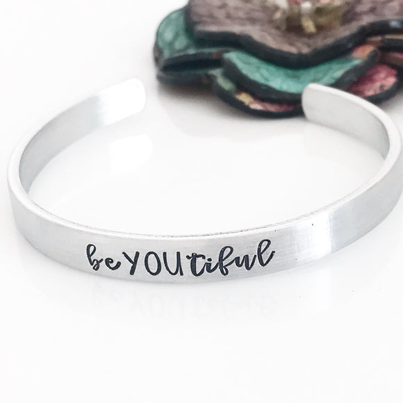 beYOUtiful Hand Stamped Custom Empowerment Cuff Bracelet or Necklace