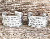 Empowerment Mantra Cuff Bracelet in Silver for Women - One Size Fits Most - Adjustable
