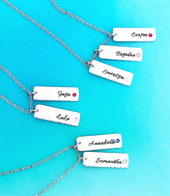 Hand Stamped Personalized Stone Vertical Bar Necklace With Birthstone Gift - Lasting Impressions CT