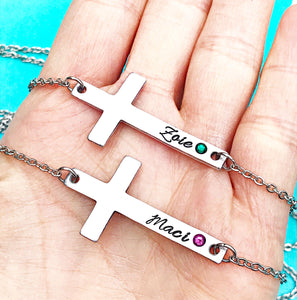 Hand Stamped Personalized Horizontal Cross Necklace - Communion, Confirmation, Easter Gift- - Lasting Impressions CT