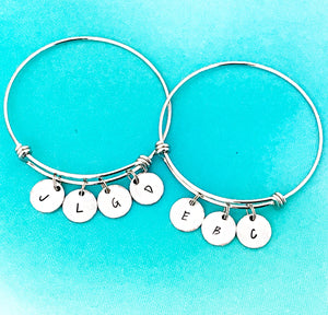 Custom Initial Bangle Bracelete - Lasting Impressions CT