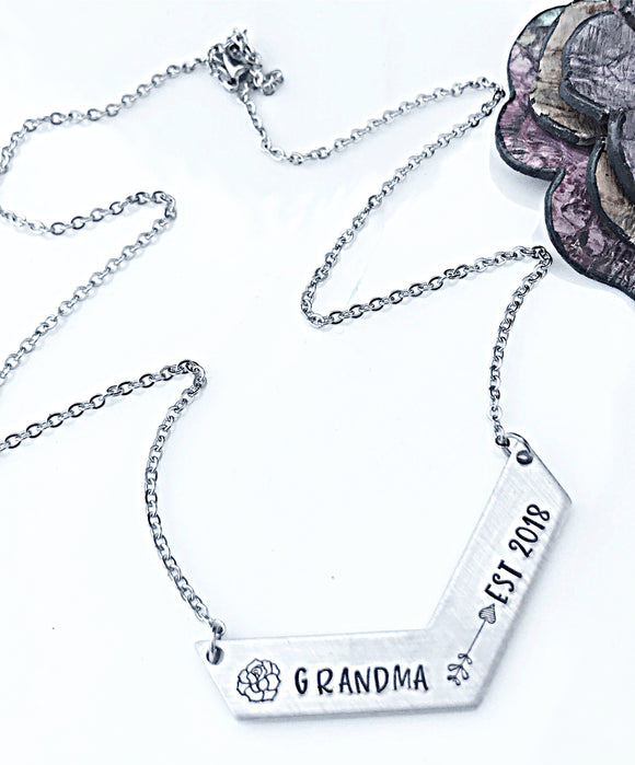 Grandma to Be, Pregnancy Reveal for Grandma, Grandma Established, Grandmother Necklace, Grandmother Jewelry - Lasting Impressions CT