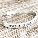 Never Apologize For Being a Powerful Fucking Woman - Hand Stamped Custom Personalized Cuff Bracelet or Keychain - Lasting Impressions CT