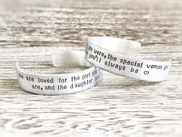 Grown Daughter Hand Stamped Personalized Cuff Bracelet - Daughter Gifts - Daughter Jewelry - Mother Daughter
