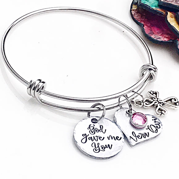 God Gave Me You Hand Stamped Bangle Bracelet, Charm Bracelet, Personalized Charm Bracelet for Mom, Mothers Day Gift, Christmas Gift - Lasting Impressions CT