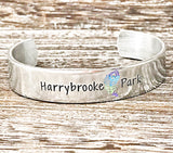 Harrybrooke Park Peacock Silver Aluminum Hand Stamped Cuff Bracelet Fundraiser
