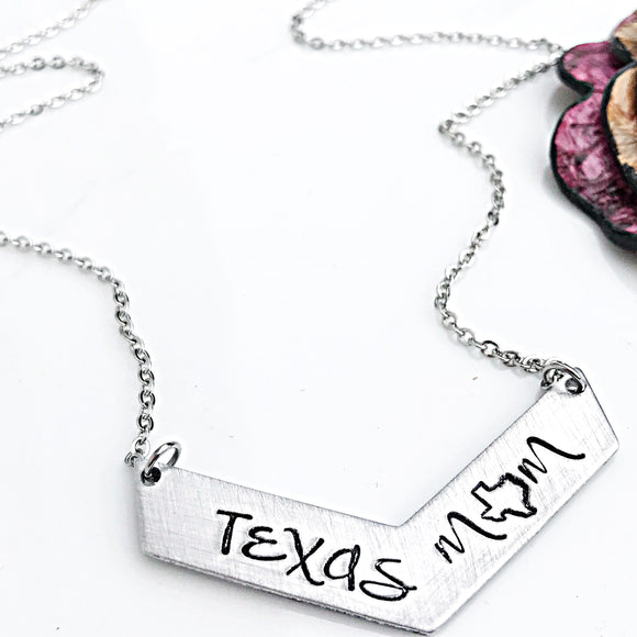 Texas Mom Necklace, Texas Jewelry, Chevron Necklace, Texas Necklace