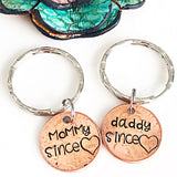 Custom Mother Penny Keychain, Penny Keychain, Mom Keychain, Dad Keychain, Personalized Pennies, Mommy Since, Daddy Since, New Mom Gift - Lasting Impressions CT